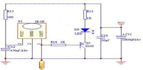 图3是红外线遥控器信号接收头的简易电路,它可接收载波频率从33~57