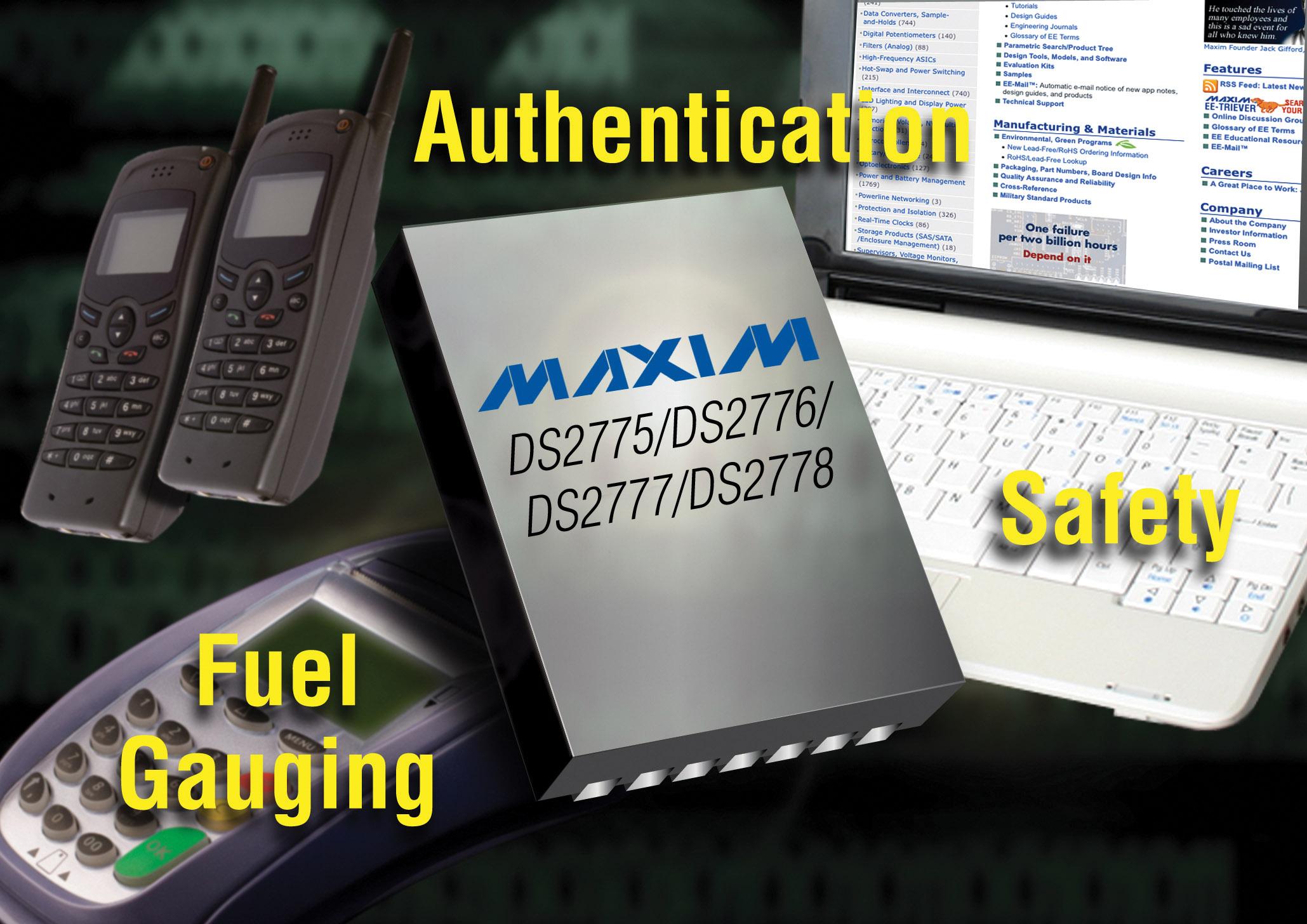 Maxim推出业内最小的独立式、2节Li+电池电量计