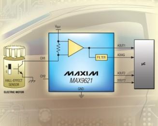 Maxim推出双通道、2线霍尔传感器接口
