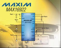 Maxim推出高压、四通道、汽车应用电源管理IC