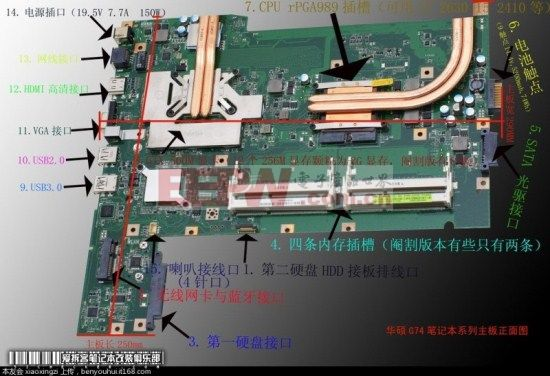 华硕g74笔记本拆机维修diy专用主板结构图