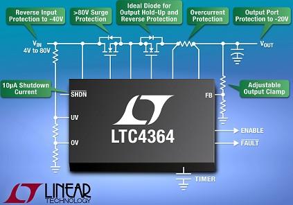 凌力尔特推出理想二极管的浪涌电流抑制器LTC4364