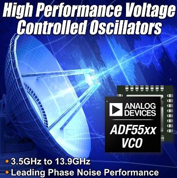 ADI发布全新高性能电压控制振荡器系列