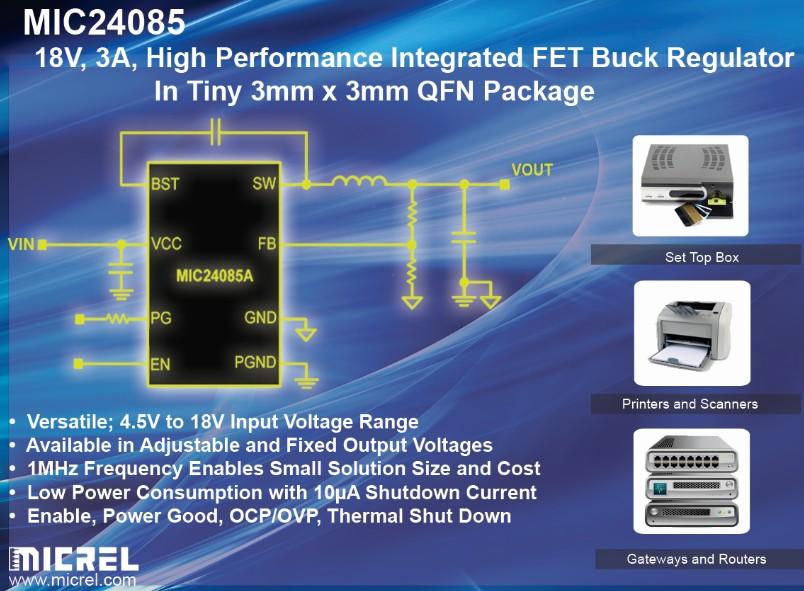 麦瑞推出3mm x 3mm的全新18V、3A、高性能DC-DC转换器
