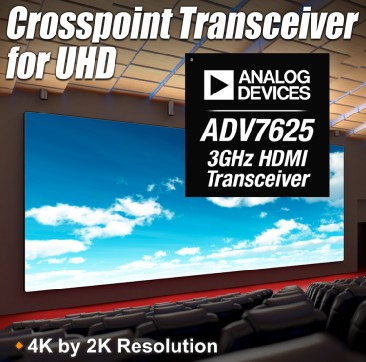 ADI推出三款高性能HDMI交叉点收发器