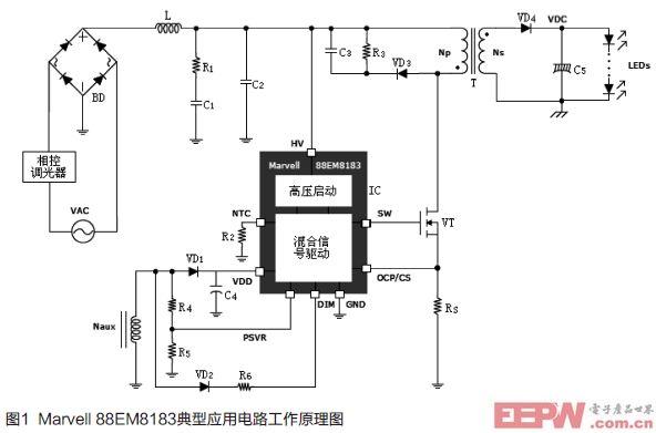 LED隔离输出单级反激变换相控调光电路