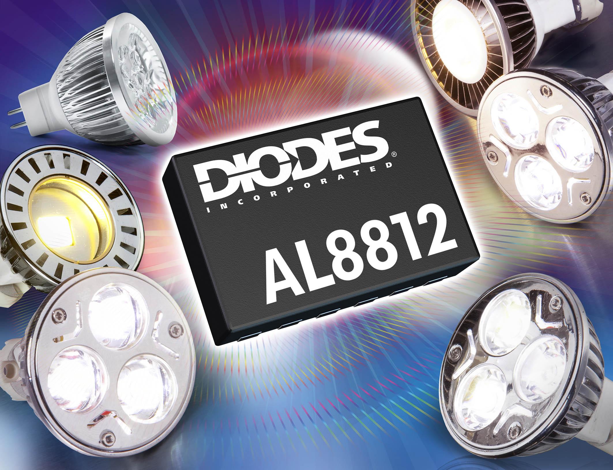Diodes高功率因数升压LED驱动器,有效缩减可调光MR16 LED灯电路占位面积