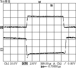 2A负载时S1驱动波形与漏源极波形