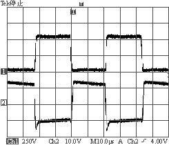 15A负载时S2驱动波形与漏源极波形