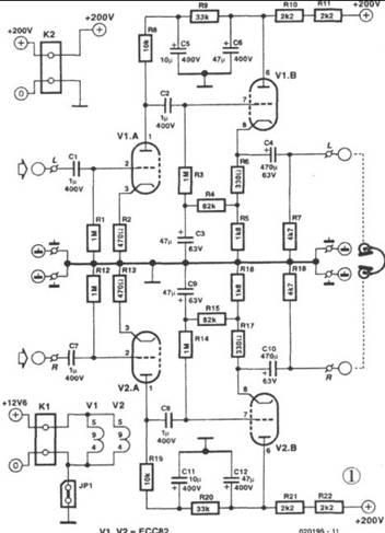 双三极管ECC822电子管组成的OTL耳机放大器电路