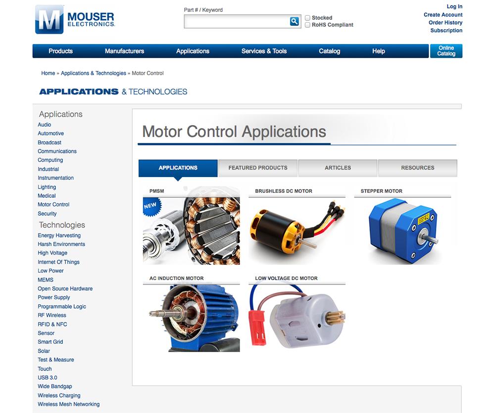 Mouser全新电机控制应用子网站   让您玩转电机控制