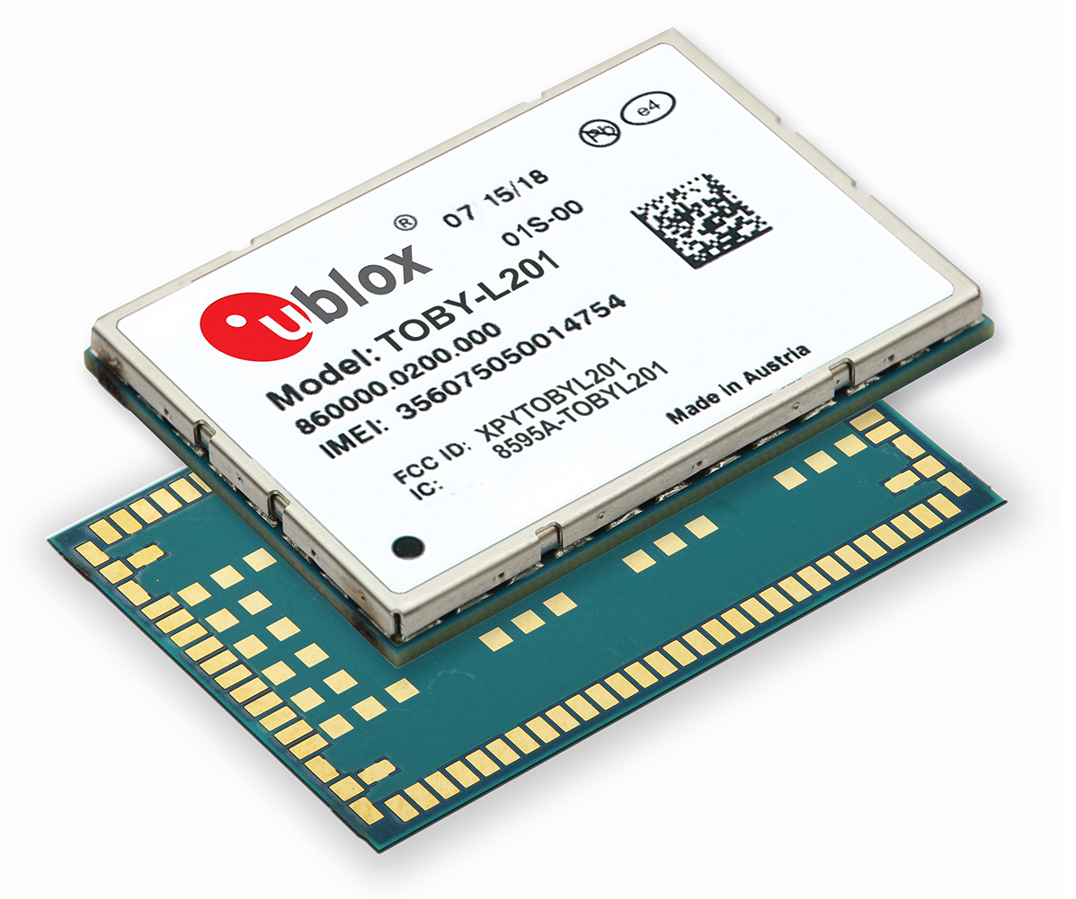 u-blox发表TOBY-L201 ─ 可支援多家电信业者的 150 Mbps 4G LTE和WCDMA模组