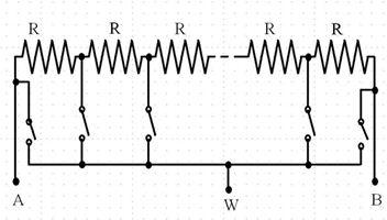 图3. 显示电子开关的64位数字电位计。同一时间只能闭合一个电子开关,该开关决定电阻比。