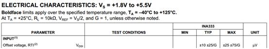 INA:偏移电压与增益之间的关系