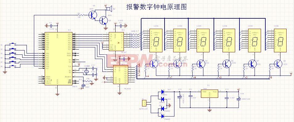 2时,由备用电源向ds1302进行供电;x1和x2是32867hz的晶振管脚,主要