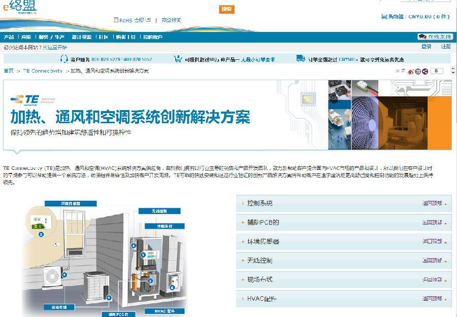 e络盟新增来自TE Connectivity的用于HVAC子系统中环境传感器及无线控制的全新产品