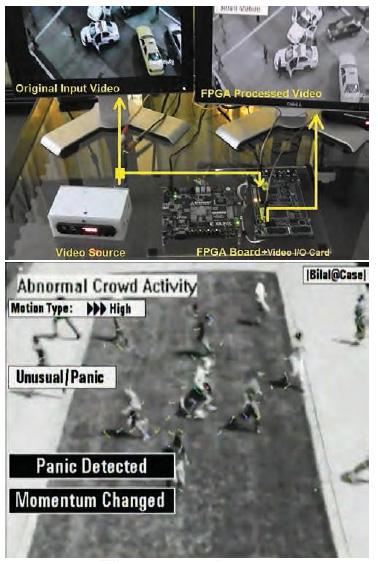 图 6:硬件设置(上)和把场景分类为惊恐的实际 FPGA 处理后的帧
