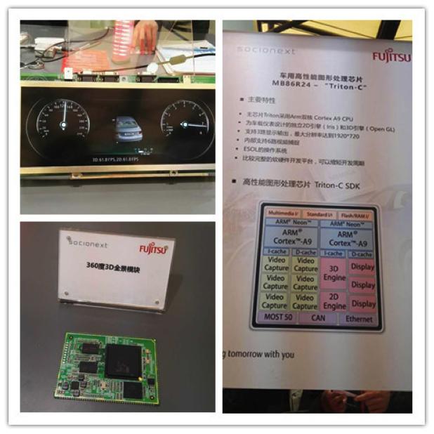"""""""图3:索喜科技的新一代GDC及面向汽车虚拟仪表的开发板和3D全景方案演示。"""""""