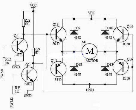 h桥驱动电路原理图及使能控制和方向逻辑