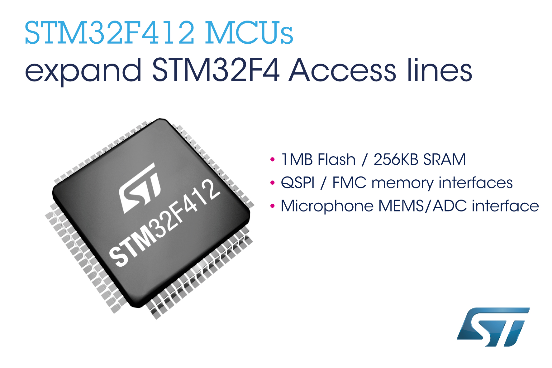 意法半导体STM32F4高性能微控制器新增基本型产品线,包括新的125°C产品
