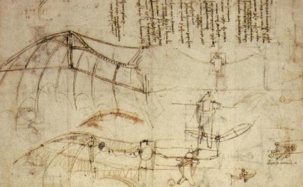 达芬奇的扑翼机设计/图来源网络