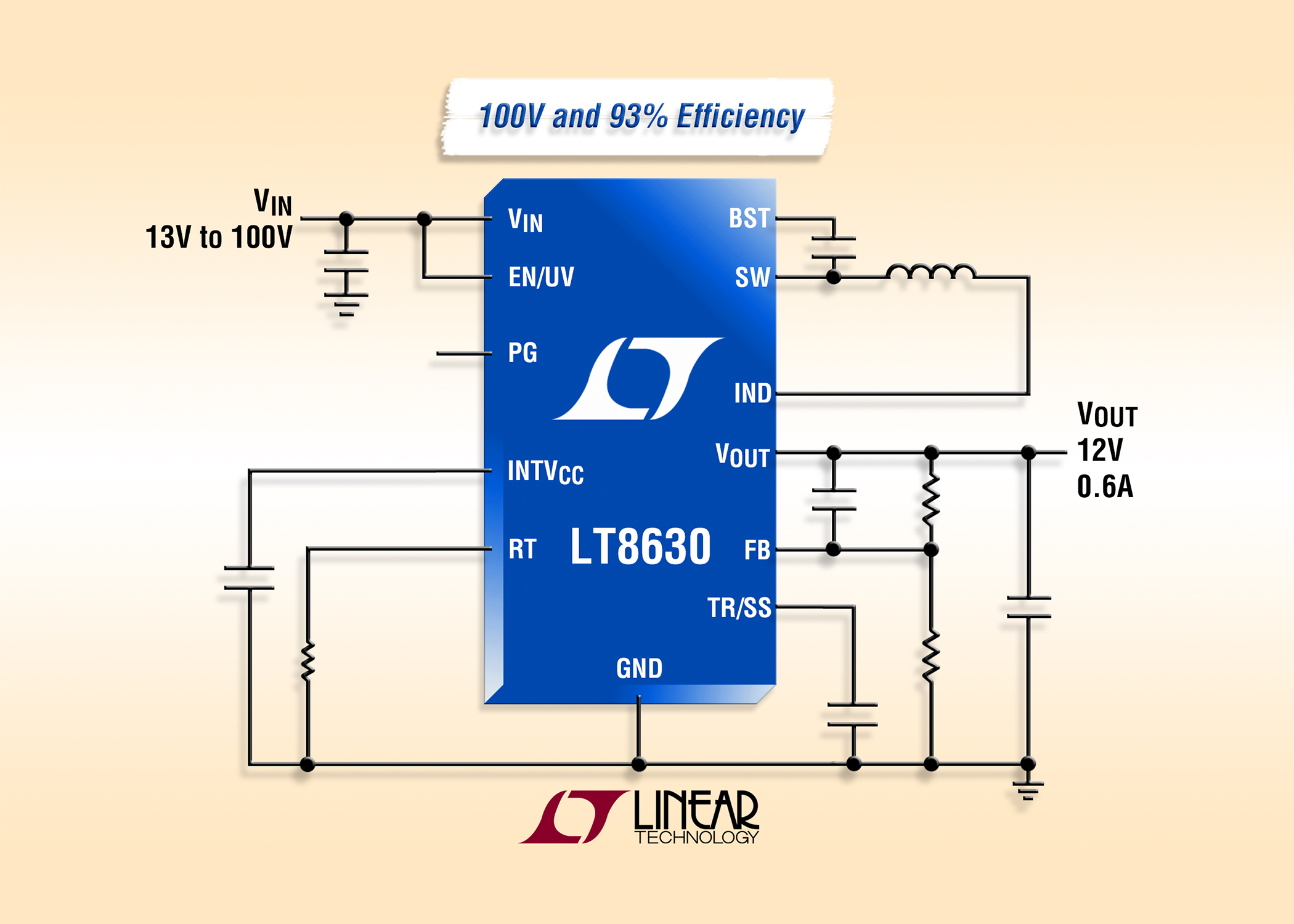 100V、600mA、同步降压型稳压器提供高于 93% 的效率