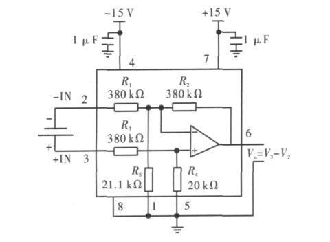 图2 INA117 输出电压是两输入电压之差的接法