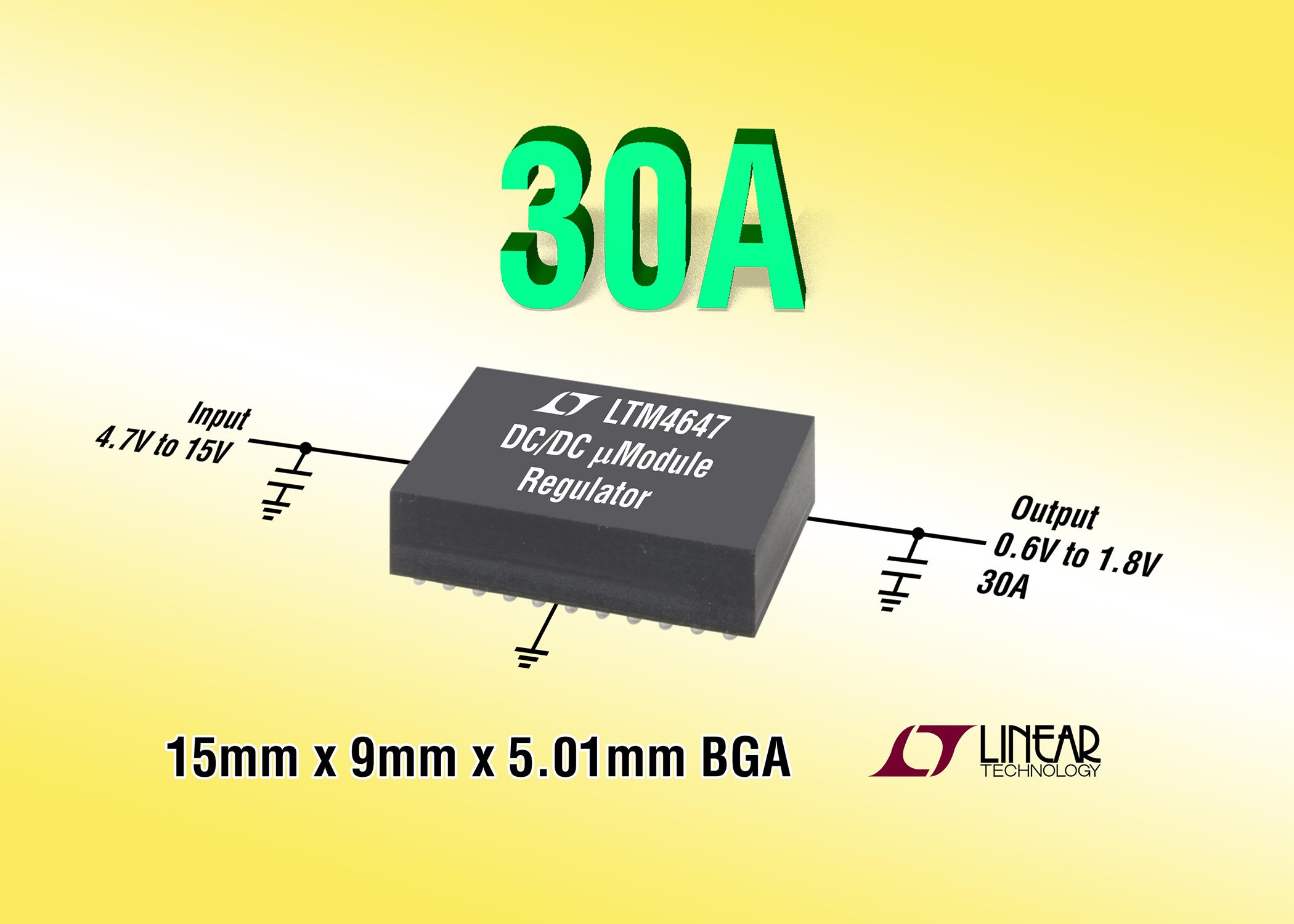 采用9mm x 15mm BGA 封装的 30A、可扩展至 180A 的 µModule 稳压器
