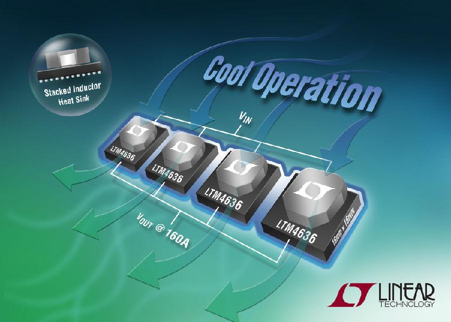 采用3D堆叠式电感器封装的 40A µModule 稳压器