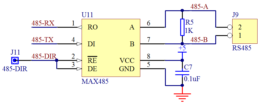 图 18-1  MAX485 硬件接口