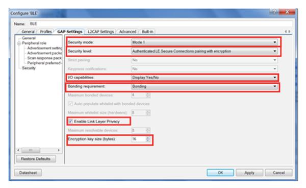 显示了BLE组件允许设计人员选择不同的参数和隐私选项。根据这些选择生成所需API,用于向应用添加安全特性