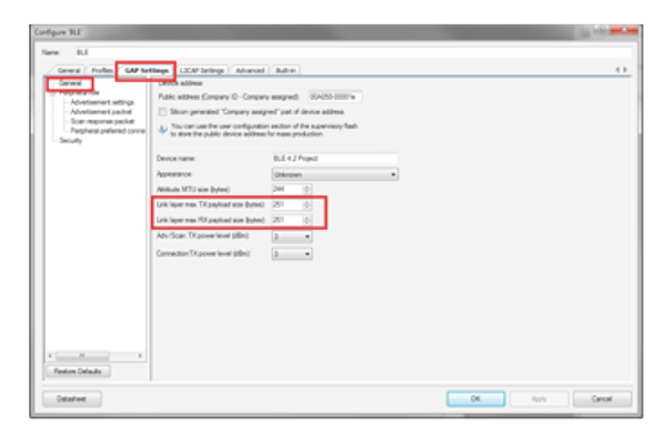 显示了BLE组件允许设计人员选择最大251字节的净荷。之后如果需要的话,还可使用应用编程接口(API)更改RX和TX净荷大小