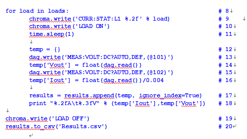 第9至10行配置相应的负载电流并打开负载。只需要使用读/写方法,并且知道仪器接受的命令串(可查阅仪器手册),即可通过GPIB接口进行通信。与其他编程语言类似,%.2f为占位符,在实际运行时用变量load的值代替。也表示我们希望数据表示为带两位小数的实数。第11行产生1秒延迟,这对于确保仪器和电路达到稳态条件非常有用。   第12行创建一个空对象(在Python中称为字典),用于暂存执行一次循环的结果。   第13至16行用来测量输出电压和电流。第一条命令告诉仪器我们想要做什么(测量直流电压,采用自动