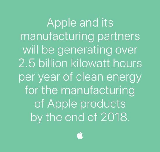 苹果不断推动供应商采用可再生能源