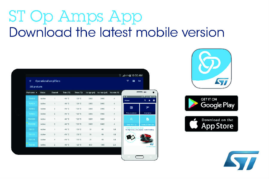 意法半导体发布新的智能手机和平板App,给运放设计选型带来新功能
