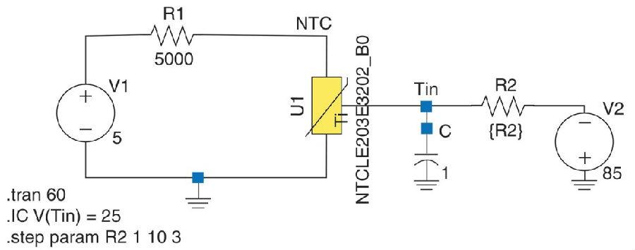 温度由电压驱动的多仿真器NTC热敏电阻器SPICE模型