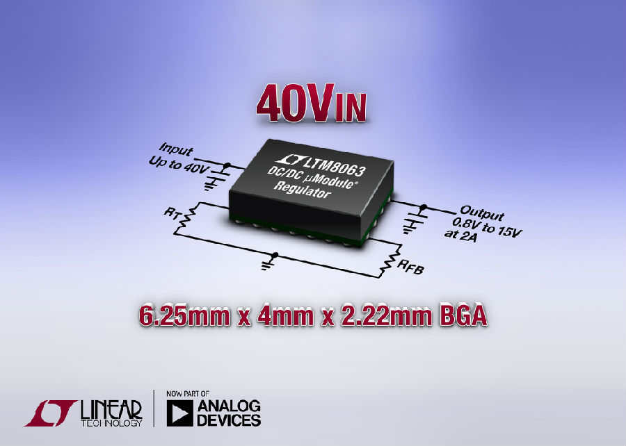 采用 6.25mm x 4mm BGA 封装的40VIN、2A Silent Switcher µModule 稳压器