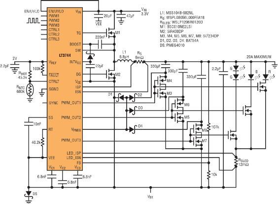 图 7:LT3744 能够用单节锂离子电池驱动微型投影仪或智能手机投影仪中所有 3 种色彩 (R、G 和 B) 的 LED。
