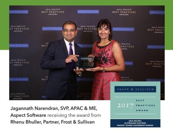 Frost &Sullivan市场份额领先奖连续6年授予Aspect Software科胜通软件公司