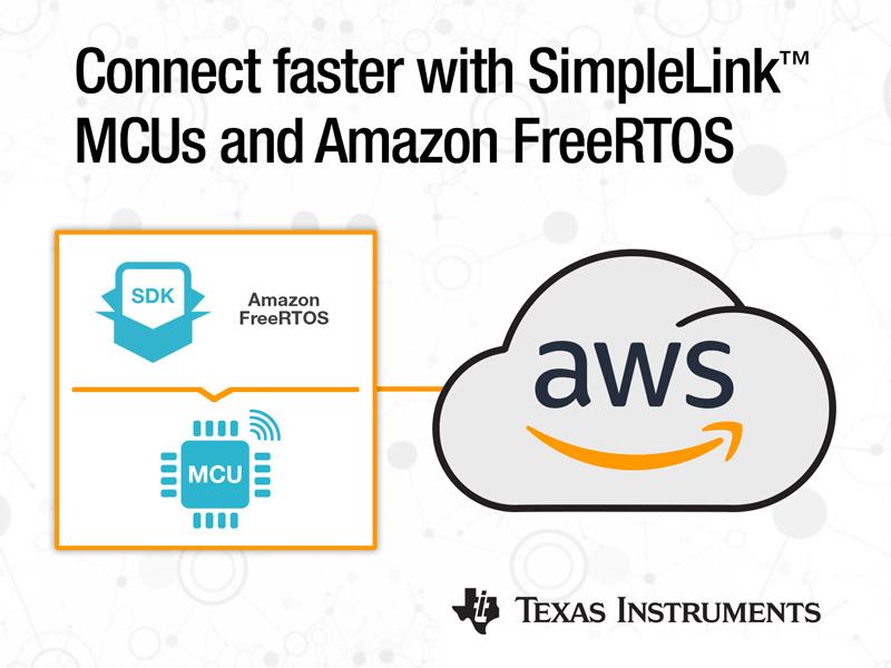 德州仪器宣布其SimpleLink™ MCU平台集成全新的Amazon FreeRTOS,实现快速云连接