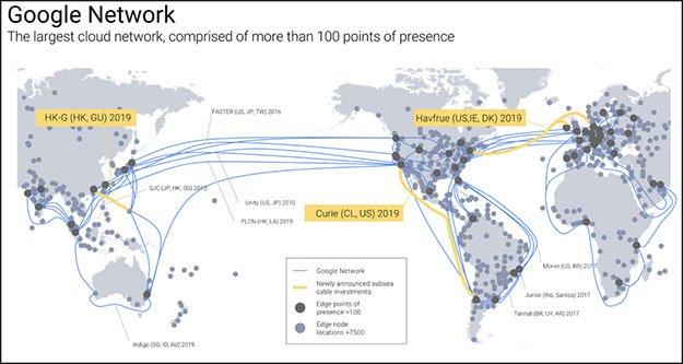 谷歌再建三条海底光缆系统 扩大全球云服务