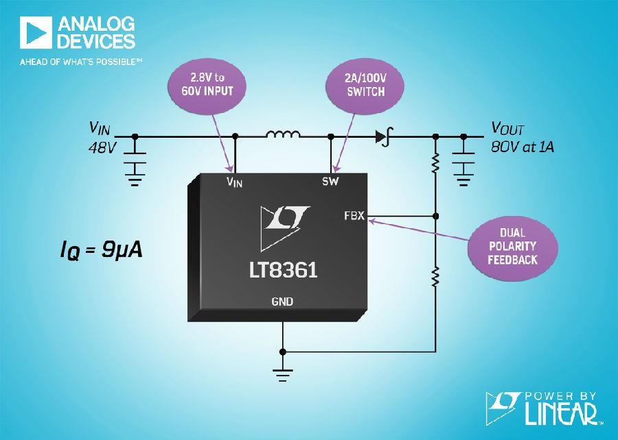 具有 2A、100V 电源开关和 9μA IQ 的 2MHz 升压 / SEPIC / 反相转换器