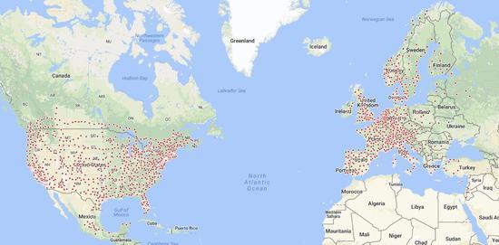 特斯拉放出地图:马斯克将在中美欧大建超级充电站