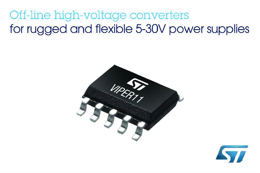 意法半导体推出离线转换器 提高5-30V电源的雪崩耐量、能效和灵活性