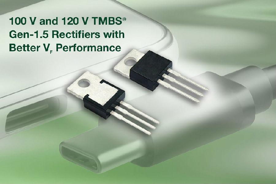 Vishay全新100V和120V TMBS?整流器提供低至0.36 V的正向压降,降低功率损耗并提高效率