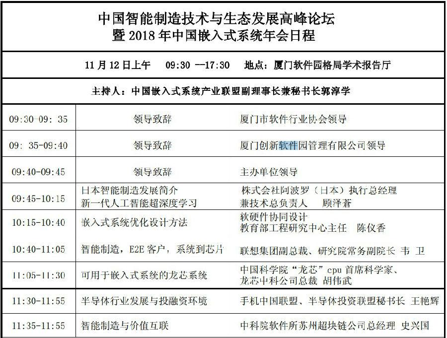 中國智能制造技術與生態發展高峰論壇暨2018 年中國嵌入式系統年會邀請函