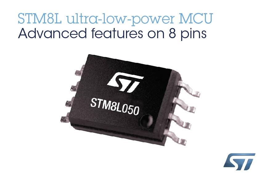意法半导体STM8L050在低成本8引脚封装内集成丰富的模拟外设和DMA控制器,为8位微控制器市场提供更多选择