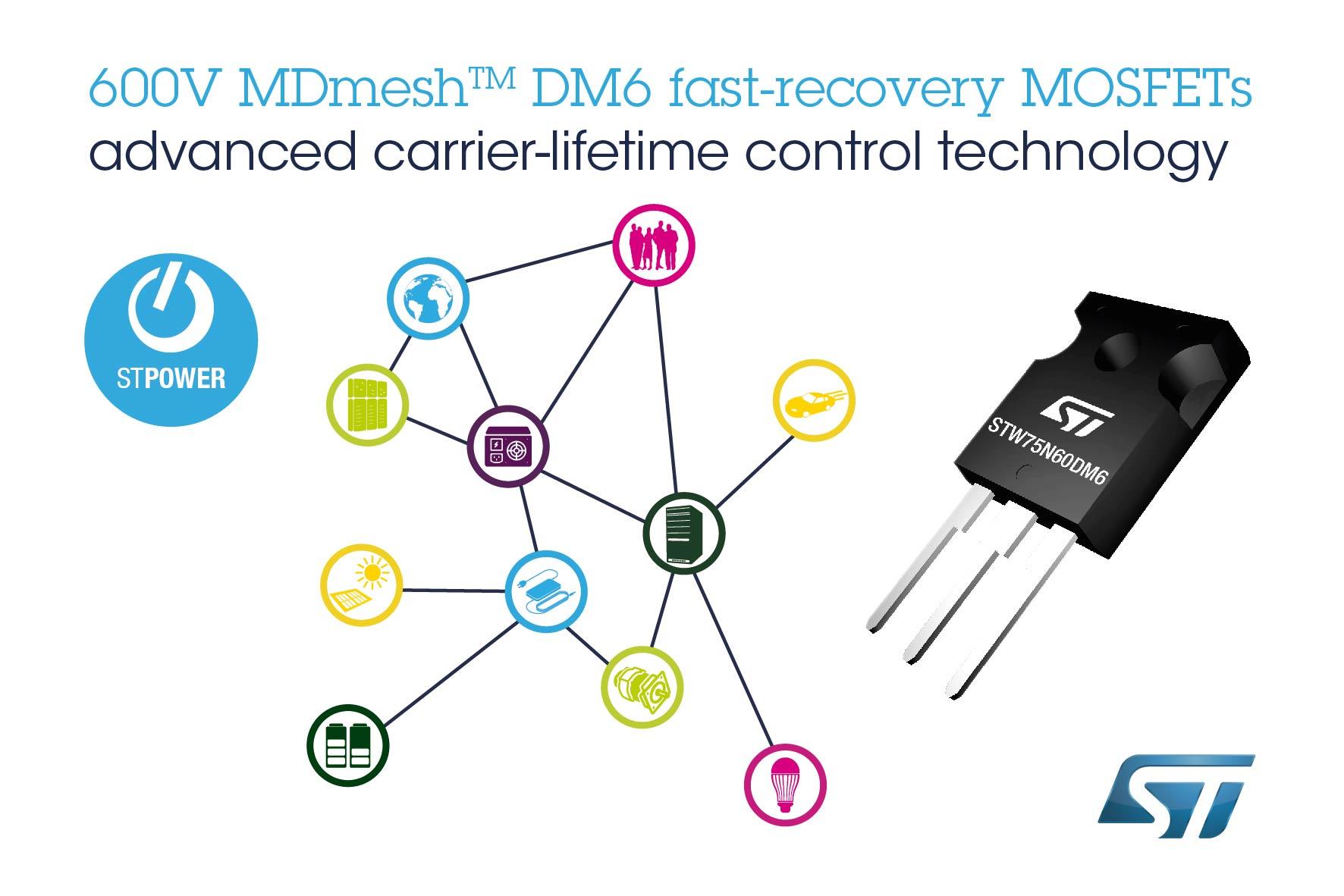 意法半导体快速恢复的超结MOSFET为电桥和ZVS转换器带来卓越性能