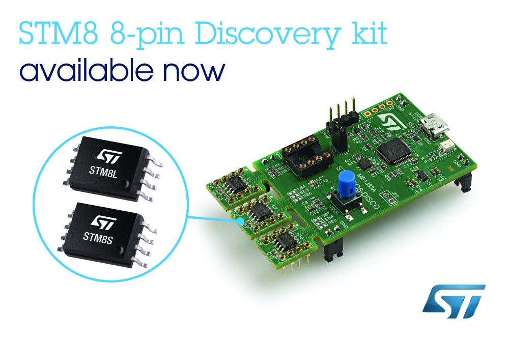 ST发布含三款8引脚STM8微控制器的单板Discovery套件