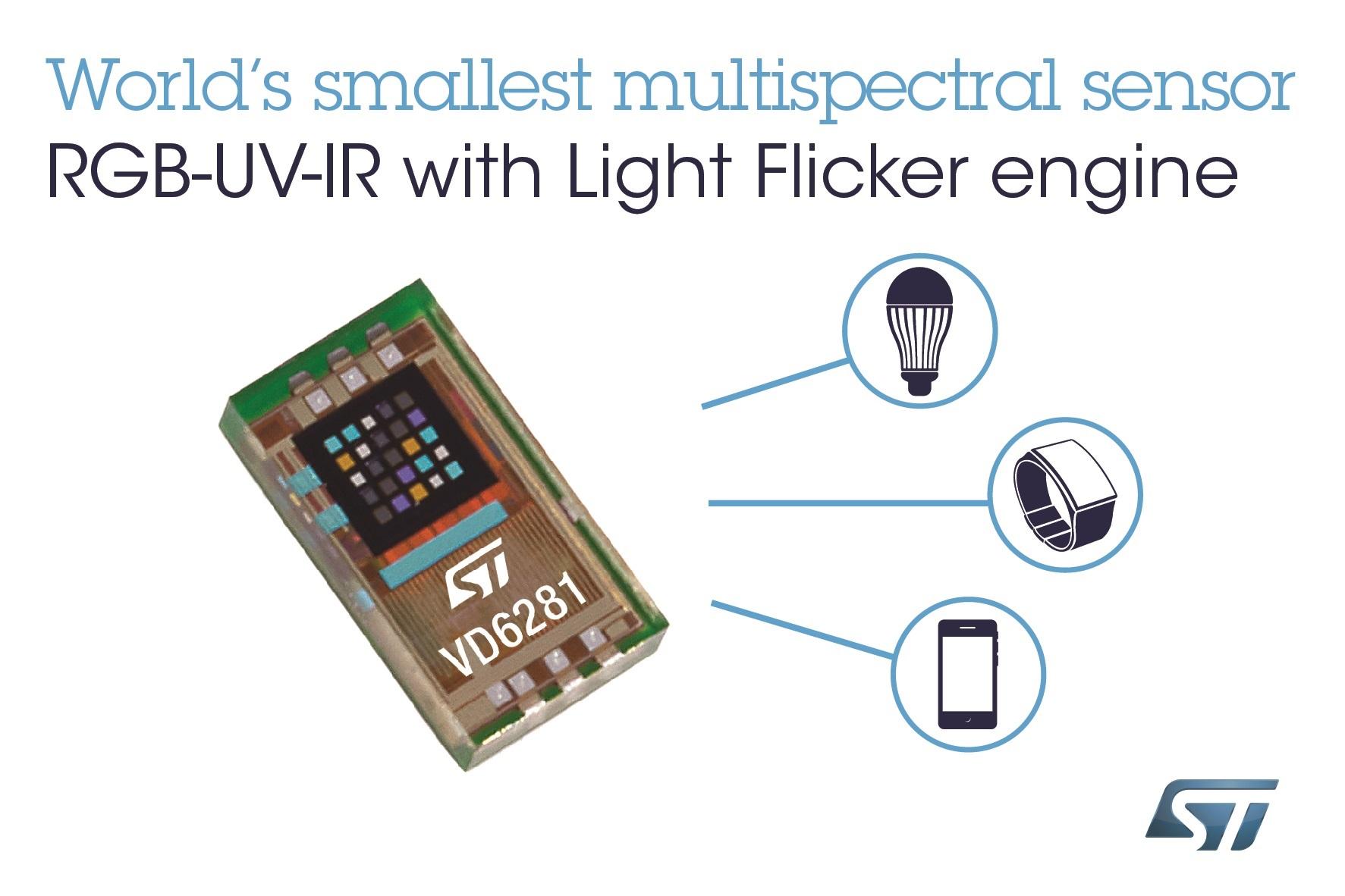 意法半导体发布带闪烁检测功能的新型全色环境光传感器, 可提升智能手机和物联网设备的拍照性能